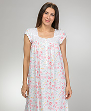 Cotton Lawn Eileen West Cap Sleeve Nightgown in Savannah Floral