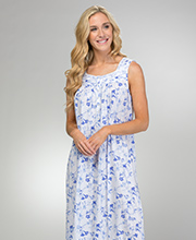 Eileen West Cotton Modal Nightgown - Sleeveless Long Gown in Blue Song