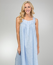 Eileen West Long Nightgown - Cotton Lawn Sleeveless in Dainty Vine