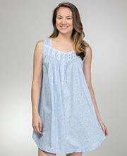 Eileen West Short Nightgown - Cotton Lawn Sleeveless in Dainty Vine