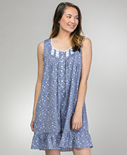 Eileen West Short Cotton Lawn Sleeveless Nightgown in Petite Blossom