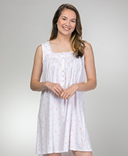 Eileen West Cotton Knit Short Nightgown - Sleeveless in Sweet Roses