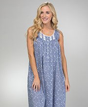Eileen West Long Cotton Lawn Sleeveless Nightgown in Petite Blossom