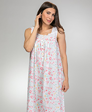 Eileen West Long Sleeveless Cotton Lawn Nightgown in Savannah Floral