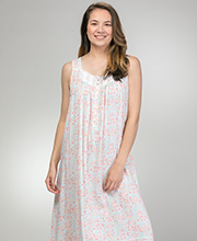 Sleeveless Long Eileen West Rayon Nightgown in Hillside Meadow
