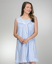 Eileen West Short Nightgown - Sleeveless Cotton Knit Gown in Blue Meadow