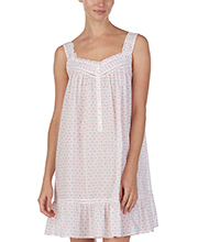 Eileen West Short Cotton Lawn Sleeveless Nightgown in Daisy Doodle