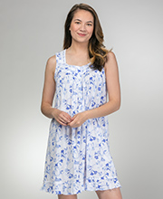 Eileen West Sleeveless Cotton Modal Short Nightgown in Blue Song