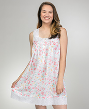Short Eileen West Sleeveless Cotton Lawn Nightgown in Savannah Floral
