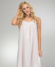 Swiss Dot Nightgowns - Eileen West Sleeveless Cotton Blend Long Nightgown in Pink Windsong