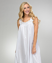 Eileen West Swiss Dot Cotton Blend Sleeveless Ballet Nightgown in White Windsong