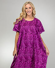 Plus Size Long 100% Cotton Kaftan Loungers in Amethyst Tortoise