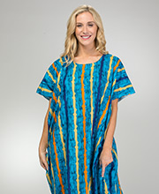 One Size Long Cotton Kaftans in Blueberry Stripe