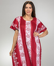 Plus 100% Cotton Long Caftan Loungers in Burgundy Floral