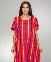 Women's Long Cotton Kaftan - One Size Lounger in Cherry Stripe
