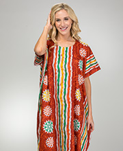 Long Cotton Kaftan - One Size Caftan Lounger in Cinnamon Beach