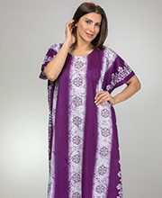 Cotton Kaftans - One Size Long Caftan in Eggplant Floral