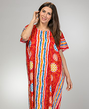 Plus 100% Cotton Long One Size Kaftan in Fire Beach