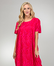 Long Caftan in 100% Cotton - Fuchsia Tortoise