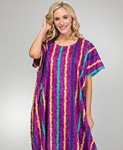 100% Cotton Women's One Size Long Caftan in Grape Stripe