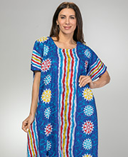 One Size Caftans for Women - 100% Cotton Long Kaftan in Indigo Beach