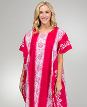 One Size Women's 100% Cotton Long Kaftan in Pink Floral