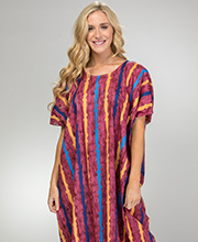 Plus Caftan Loungers - One Size Fits Most Cotton Kaftans in Plum Stripe