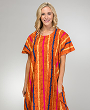 Cotton Kaftans for Women - One Size Plus Loungers in Pumpkin Stripe