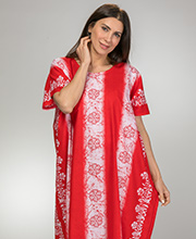 100% Cotton One Size Long Caftan Loungers in Red Floral