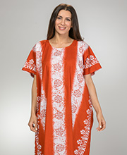 Long Loungers - 100% Cotton One Size Caftan in Spice Floral