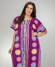 100% Cotton Caftan For Women - One Size Long Lounger in Violet Beach