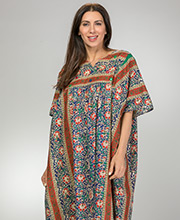 Cotton Kaftans - La Cera Long Cotton Lounger in Mexicali Crimson