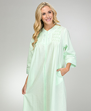 Miss Elaine Long Seersucker Robe - Smocked Zip Front in Mint Green
