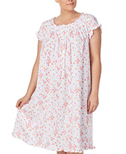 Plus Eileen West Cotton Knit Cap Sleeve Nightgown in Sugar Daisy