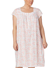 Eileen West Plus Rayon Nightgowns - Cap Sleeve in Hillside Meadow