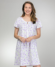 Aria Cotton Knit Short Nightgown - Short Sleeve in Lilac Garden
