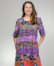La Cera Short Sleeve Cotton Float Dress in Patchwork Floral