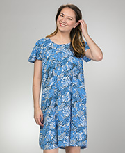 Blue Water Sundress - Short Sleeve Rayon Dress in Blue Serenity