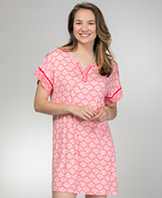 Ellen Tracy Short Sleeve Rayon Sleep Shirt in Coral Fans