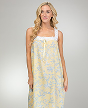 La Cera Nightgowns - Cotton Sleeveless Gown in Gentle Morning