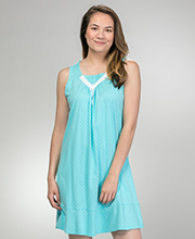 Carole Hochman Sleeveless Cotton Knit Short Nightgown in Aqua Dot