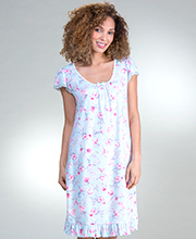 Miss Elaine Plus Sofiknit Nightgowns - Flutter Sleeve Short in Cherry Blossoms