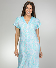 Miss Elaine Short Sleeve Zip Front Long 100% Rayon Robes in Aqua Paisley