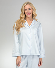 Brushed Back Satin Pajamas - Miss Elaine PJs in Blue