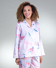 Brushed Back Satin Pajamas - Miss Elaine PJ Set In Floral Pink