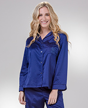Miss Elaine Brushed Back Pajamas - Long Sleeve in Navy Geo