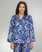 Miss Elaine Brushed Back Satin Pajamas in Navy Paisley