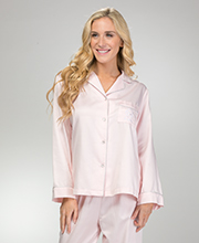 Miss Elaine PJs - Brushed Back Satin Pajamas in Pink