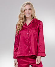 Brushed Back Satin Miss Elaine Pajama Set in Wine Geo