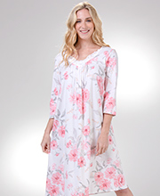 Cotton Knit Nightgowns - Carole Hochman 2/3 Sleeve Gown in Wild Roses